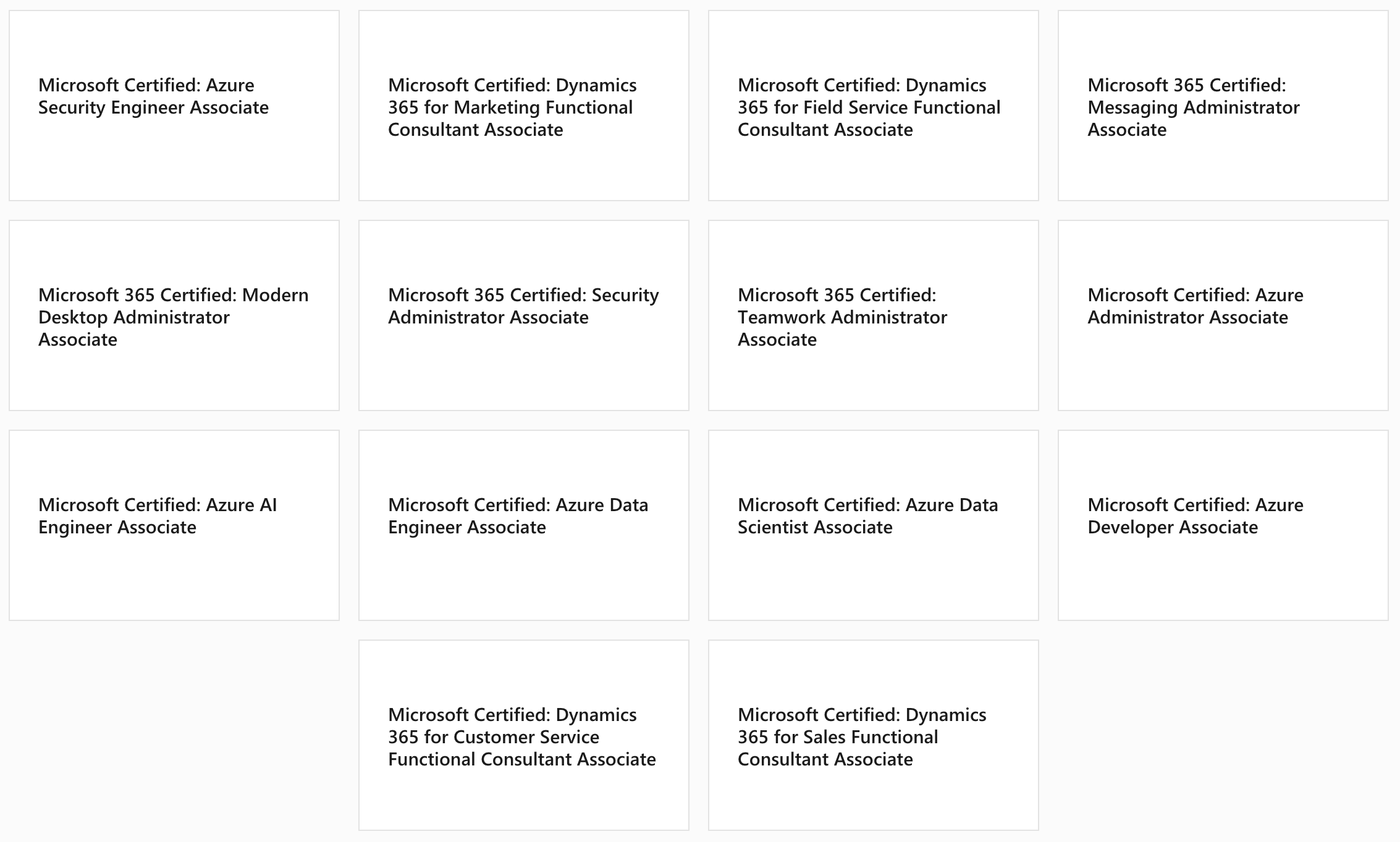 Microsoft MCA Certifications